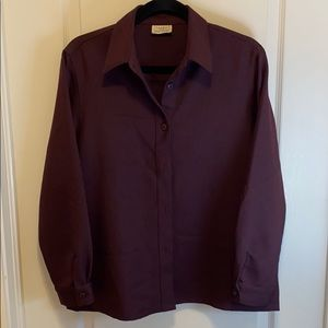 Haggar For Her Purple Button Blouse -Size 12